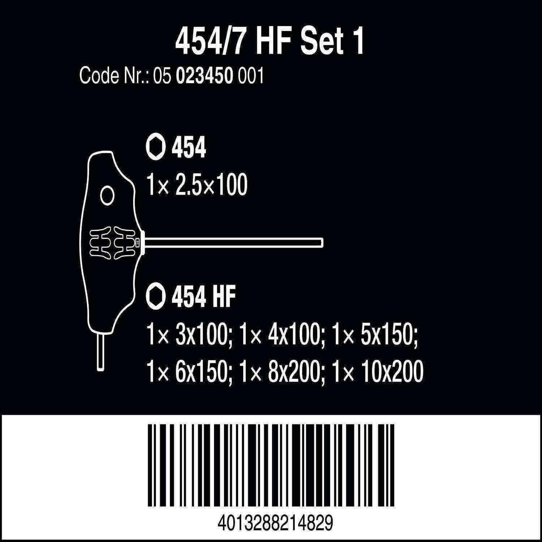 Wera 454/7 HF T Kol Tornavida Set 1 05023450001